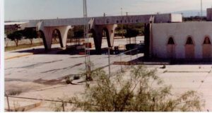 Old international bridge between Presidio and Ojinaga - Mexican inspection station